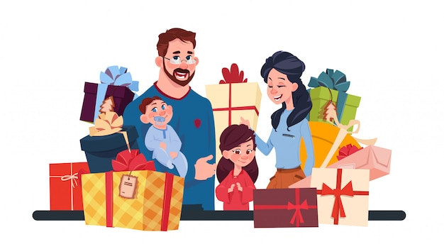 Young family together with present boxes on white background, parents and children holding holiday Premium Vector