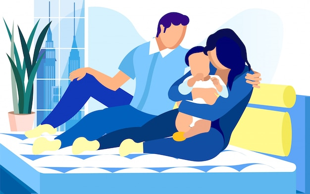 Young family with baby boy on bed with comfortable mattress. Premium Vector