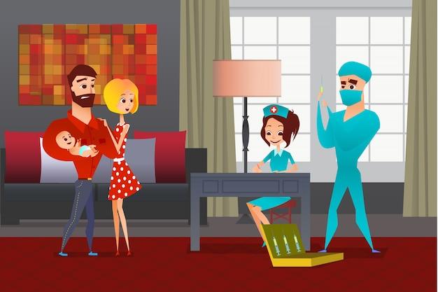 Молодая семья с ребенком на руках боится врачей. врач смотрит на шприц, медсестра пишет за столом. вакцинация новорожденного на дому. офисный интерьер дома с большими окнами и диваном Premium векторы