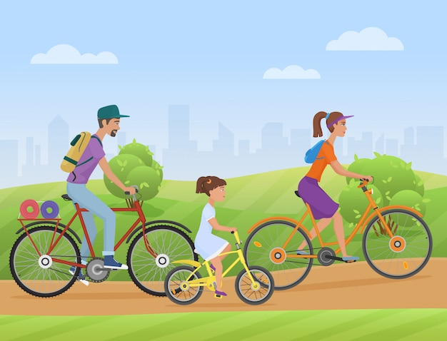 Young family with kid riding bikes Premium Vector