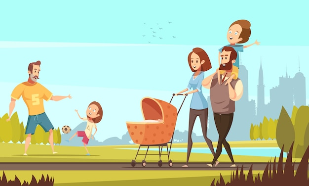 Young family with toddler and baby walking in park outdoor with cityscape background retro cartoon vector illustration Free Vector