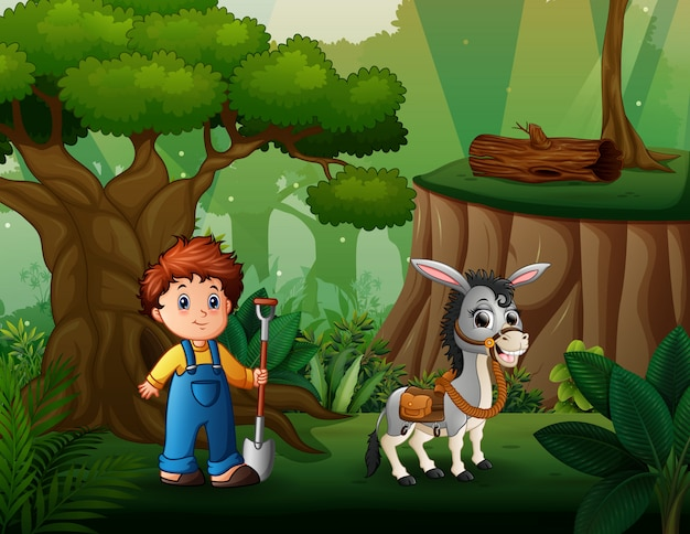 Young farmer herding a donkey in the forest Premium Vector