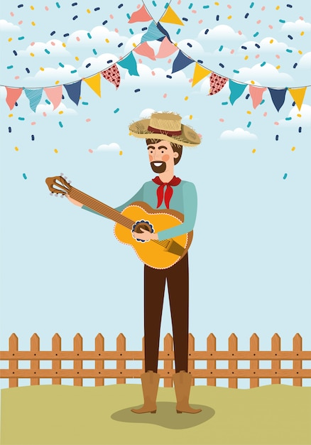 Young farmer playing guitar with garlands and fence Premium Vector