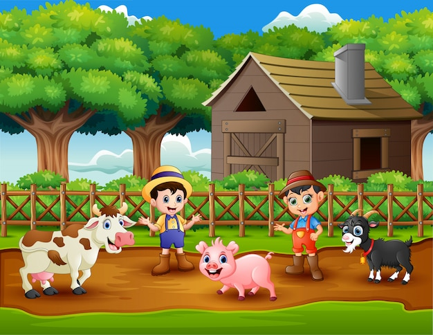 Young farmers activities with animals on farm Premium Vector