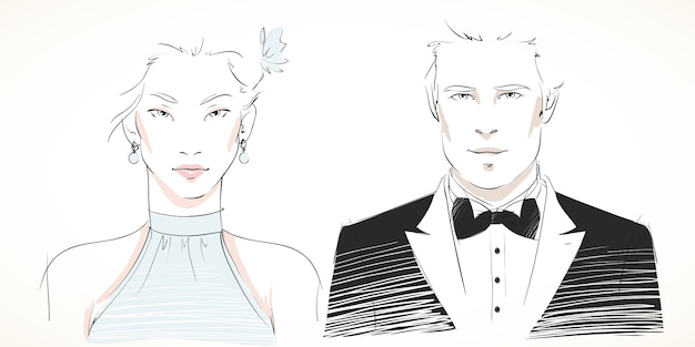 Young fashionable couple portraits Free Vector