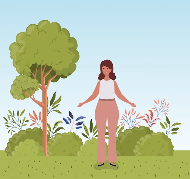 Young fat woman standing in the camp Free Vector