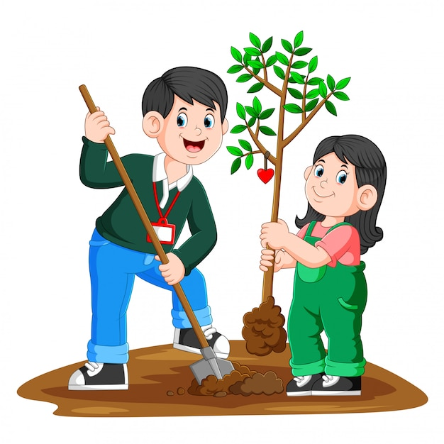 A young father and his daughter planting a tree Premium Vector