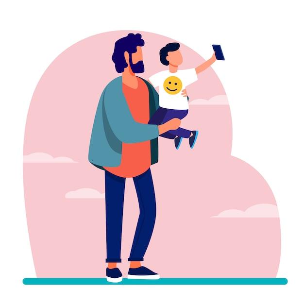 Giovane padre che tiene bambino con il telefono cellulare Vettore gratuito