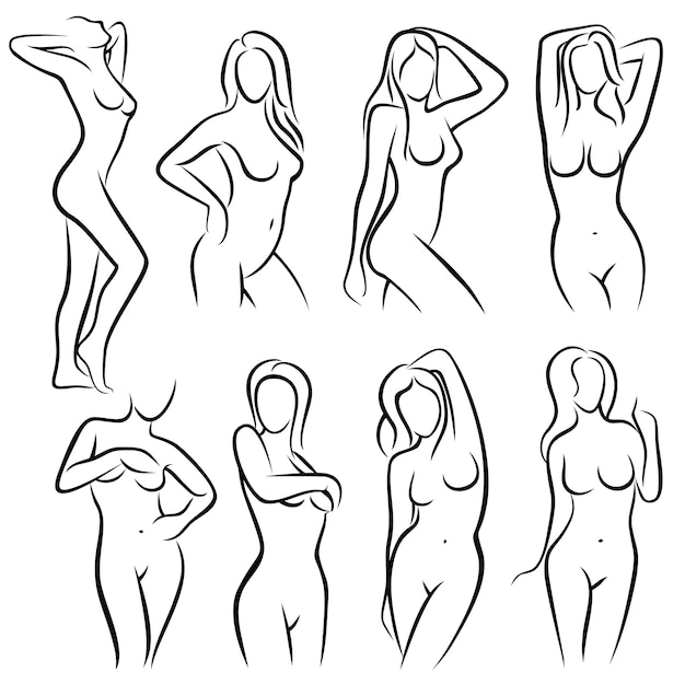 Young female body outline silhouettes beauty logos Premium Vector