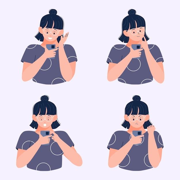 Молодая женщина читает сообщение на смартфоне с другим выражением лица Premium векторы