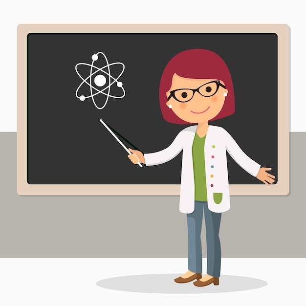 Young female teacher on science lesson at blackboard Premium Vector