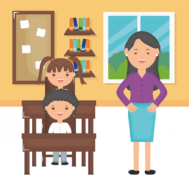 Young female teacher with students in the classroom Free Vector