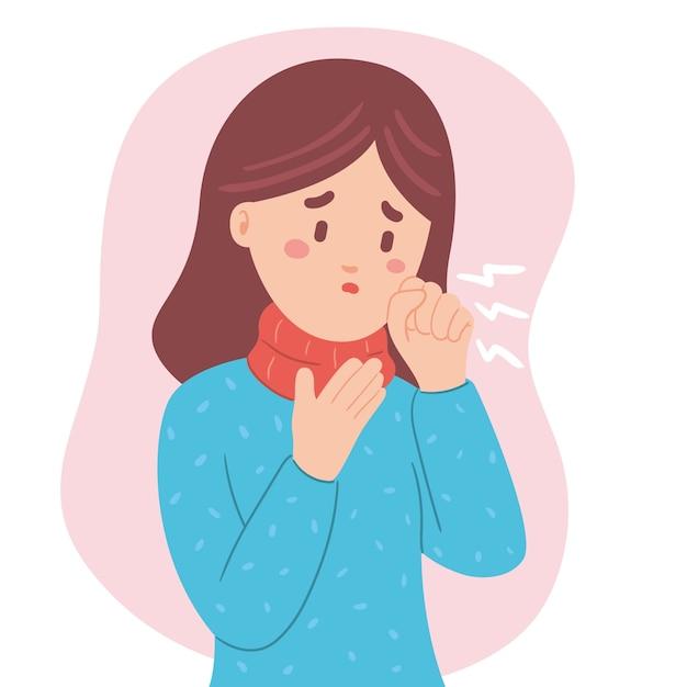 Giovane donna con sintomi di tosse Vettore gratuito