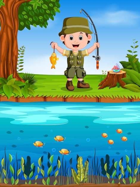 Young fisherman fishing in a river Premium Vector