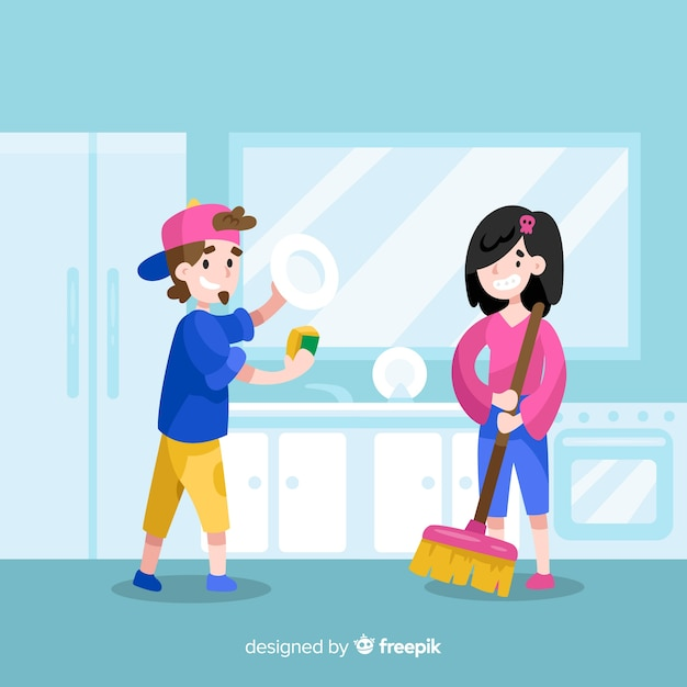 Young friends doing housework Free Vector