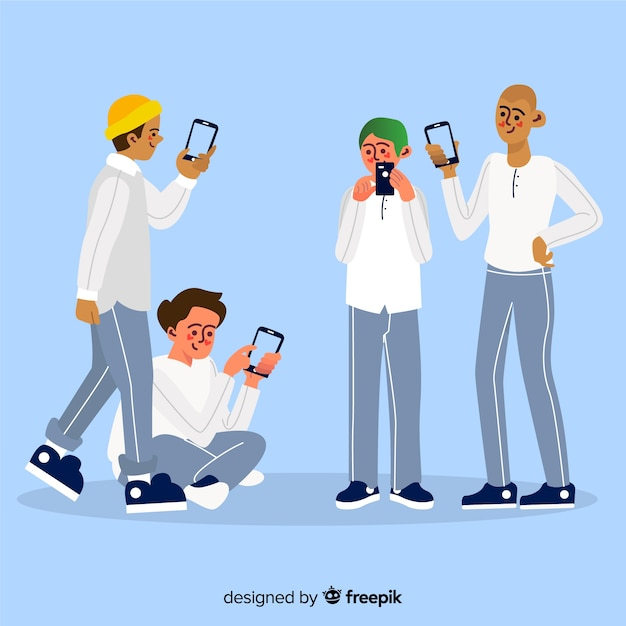 Young friends holding smartphones Free Vector