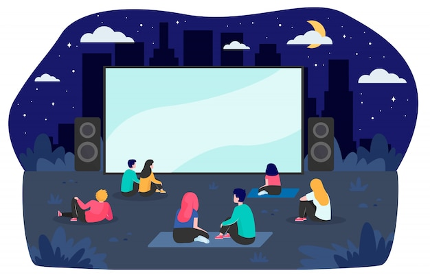 Young friends resting at backyard and watching movie Free Vector