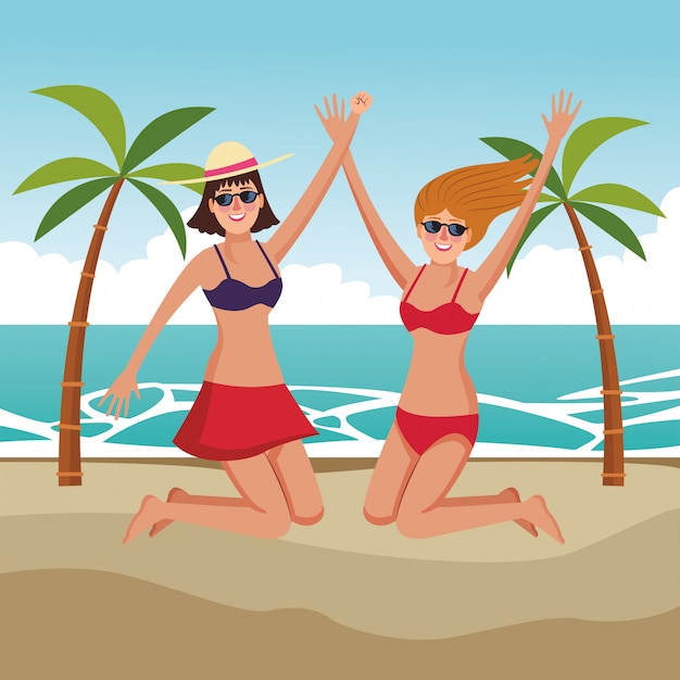 Young friends and summer cartoons Free Vector