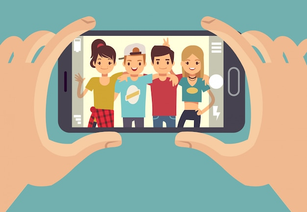 Young friends teenagers taking photo with smartphone. friendship vector concept Premium Vector
