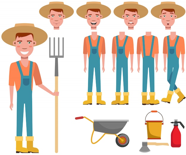 Young gardener in straw hat holding rake character set Free Vector