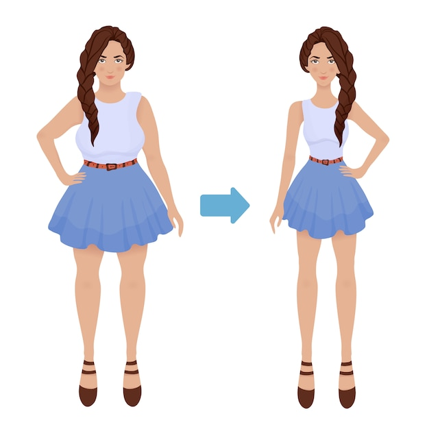 Young girl before and after diet and fitness. weight loss. fat and thin woman, body transformation. Premium Vector