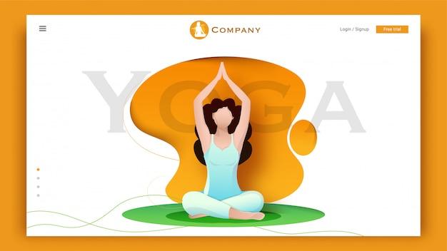 Характер маленькой девочки делая тренировку в представлении sukhasana или раздумья на конспект для целевой страницы йоги. Premium векторы