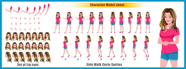 Young girl character model sheet with walk cycle animations and lip syncing Premium Vector