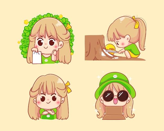 様々な感情を持つ少女キャラクター漫画セットイラスト Premiumベクター