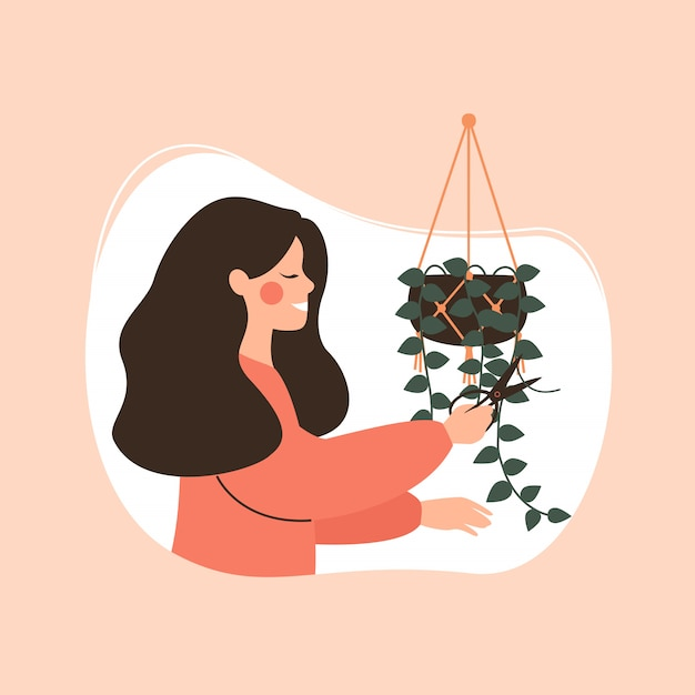 Young girl cuts off potted green plant. Premium Vector