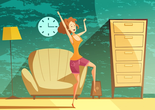 Young girl dancing alone at home late in the evening Free Vector