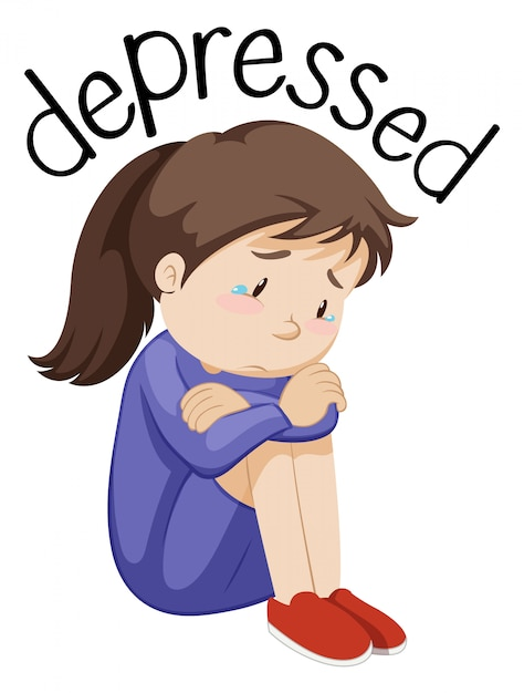 Young girl depressed white background Premium Vector