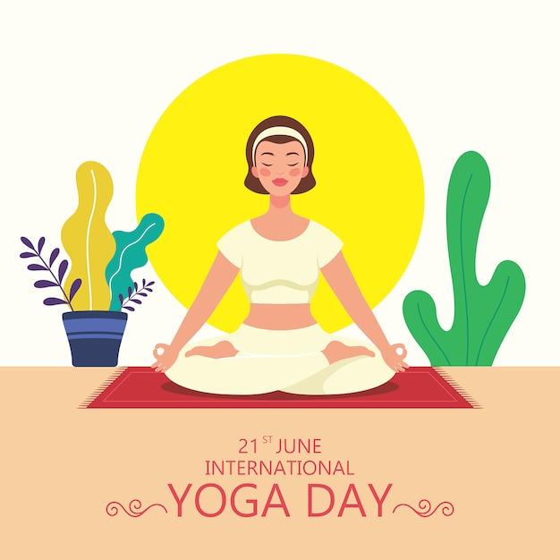 Молодая девушка делает упражнения йоги падмасана на международный день йоги июня. иллюстрация персонажа, занимающегося йогой. Premium векторы