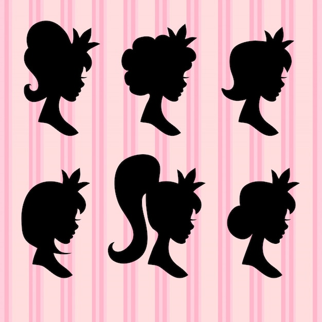 Young girl faces with crown black profiles Premium Vector