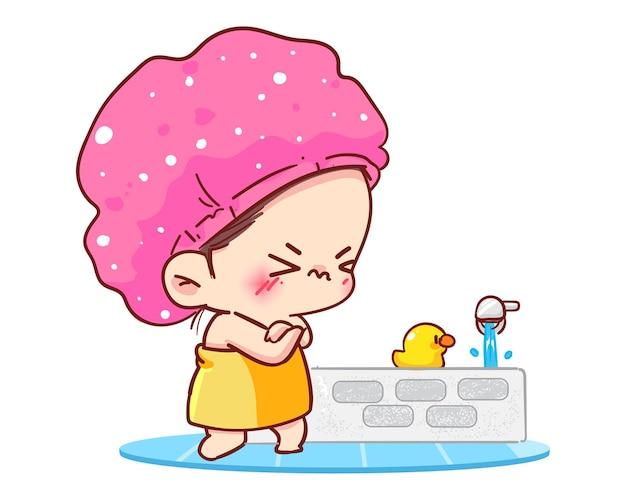 Молодая девушка в шоке, принимая душ с холодной водой в ванной комнате. Бесплатные векторы