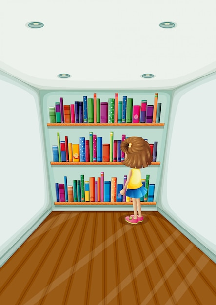 A young girl in front of the bookshelves with books Free Vector