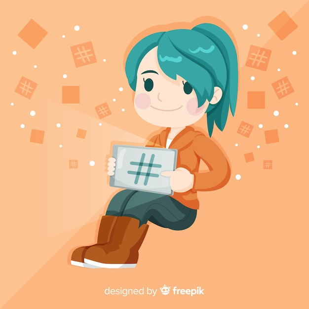 Young girl hashtag concept background Free Vector