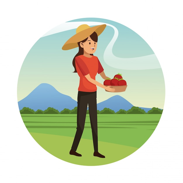 Young girl hat and basket tomato harvest-gardening Vector | Premium ...