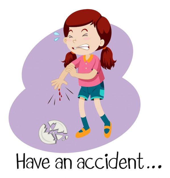 A young girl having an accident Free Vector