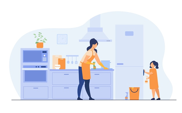 Young girl helping her mom to clean kitchen, dusting furniture, wiping fridge. vector illustration for family home activities, housework chores, household concept. Free Vector