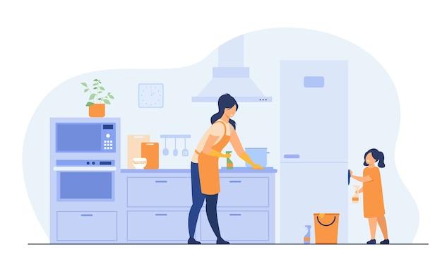 부엌 청소, 가구 청소, 냉장고 닦는 엄마를 돕는 어린 소녀. 가족 가정 활동, 가사 집안일, 가정 개념에 대 한 벡터 일러스트 레이 션. 무료 벡터
