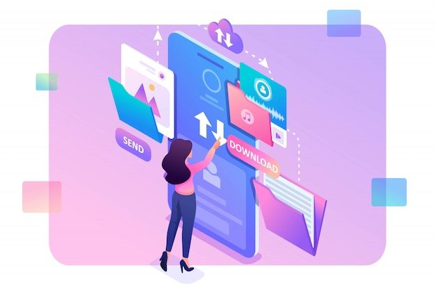 Young girl interacting with the data storage, downloads and uploads files to the cloud. data exchange . 3d isometric. Premium Vector