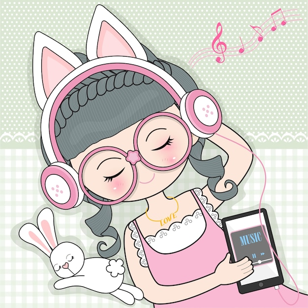 Young girl listening to music Premium Vector