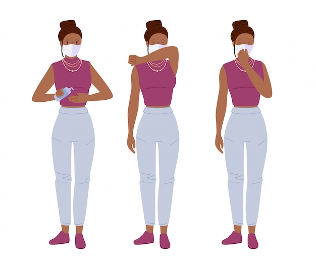 Young girl masked sneezing. protection from coronavirus. use sanitizer stop covid cartoon concept Premium Vector