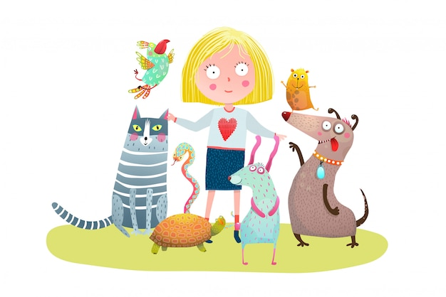 Young girl and pet shop Premium Vector