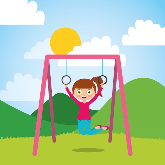 Young girl playing with bar rings in the park and sunny day Premium Vector