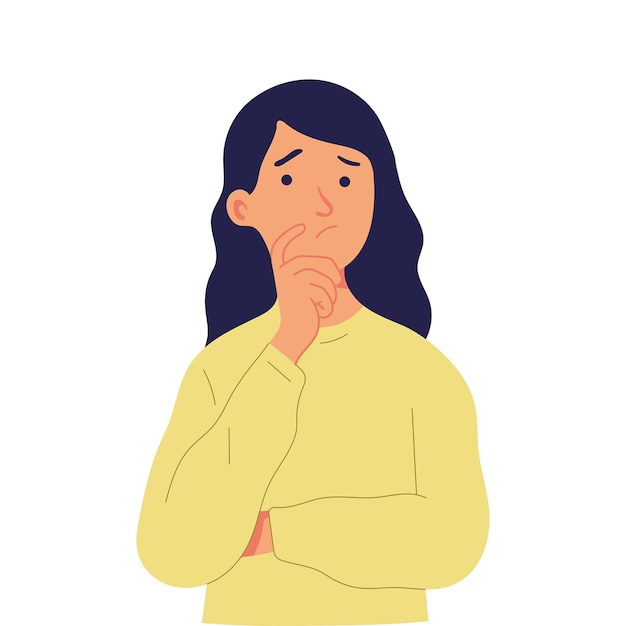 Young girl puts a finger on her chin, directs her eyes up and is thinking Premium Vector