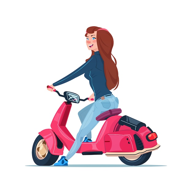 Young girl riding electric scooter red vintage motorcycle isolated on white background Premium Vector