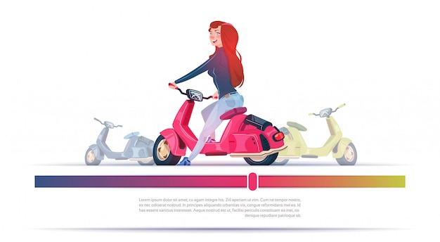 Young girl riding electric scooter red vintage motorcycle template banner with copy space Premium Vector