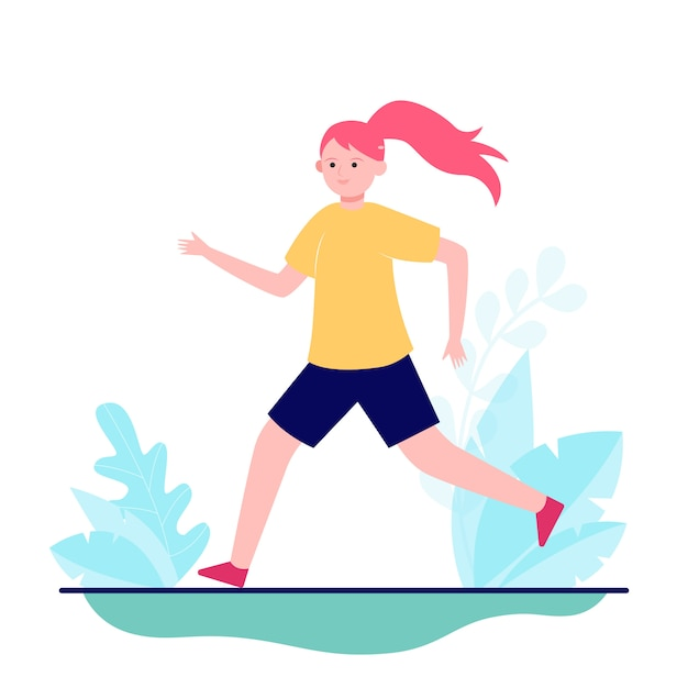 Молодая девушка работает или бег на природе Бесплатные векторы