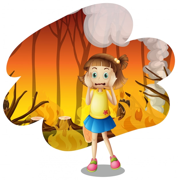 A young girl scare of wildfire Premium Vector